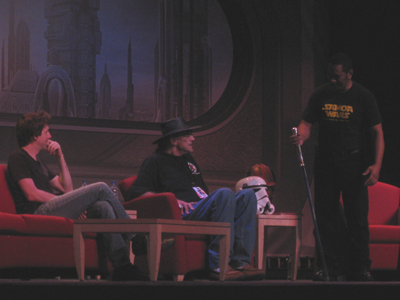 Matthew Wood and Peter Mayhew join Jay LaGaia on stage for Star Wars Weekends